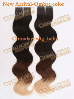 Three Tone Ombre Hair Color Tape Weft Hair Extensions