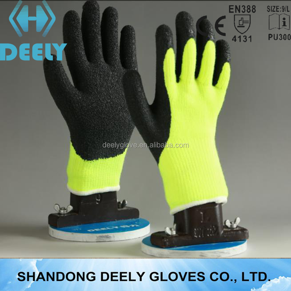 knitted Polycotton line latex coated gloves/heavy duty rubber gloves