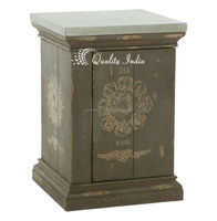 French Country Medallion Side Table with Tin Top