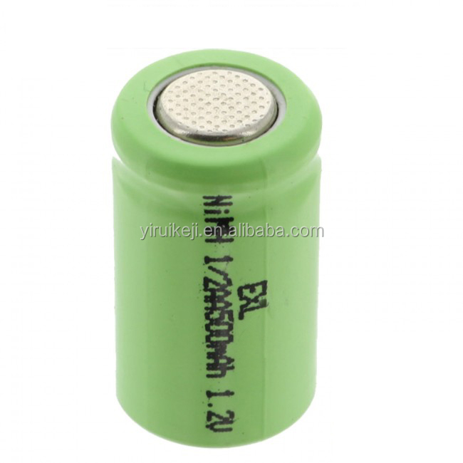 1/2AA Size 1.2V 500mAh NiMH Rechargeable Flat Top Battery Cell