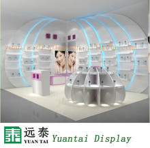 Creative cabinets shopping mall wooden display kiosk for cosmetic retail
