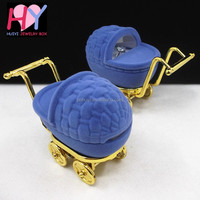 Cartoon stroller shape decorative silver plated jewelry box for kids