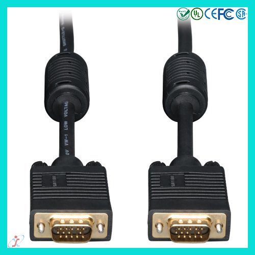 Premium VGA Cable 6 foot Black Double Shielded Black VGA Connector Cable DB15 Male to Male