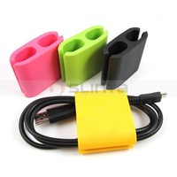 12 Color ODM 2mm 3mm 4mm Diameter Desk Flat Silicone Cable Winder Wire Organizer