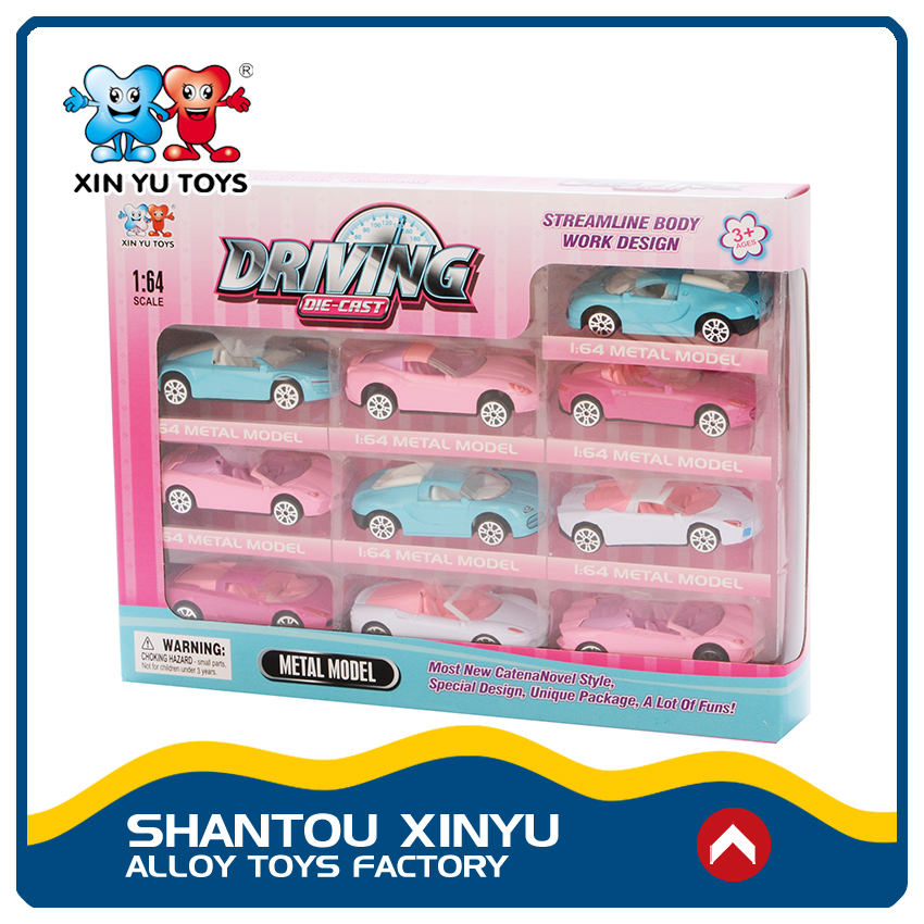 Fashion gifts lovely style mini sport car toys scale diecast 1:64 for girls