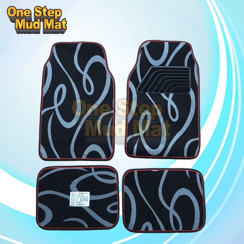 Guangzhou 4pcs/set flocking fabric car floor mats with anti-skid bottom Manufacturers