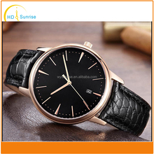High Grade Round Cover Golden Color Stainless Steel Wrist Watch 50m Waterproof Stainless Steel Skeleton Wrist Watch for Men