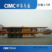 CIMC Competitive Price 3 Axles Tow Behind Flat Bed Container Trailer