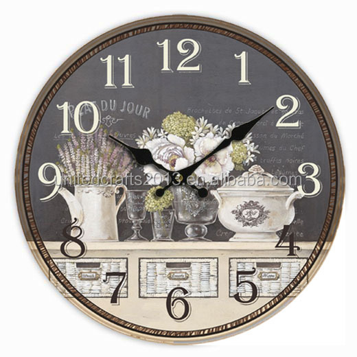2015 new products DIY printing picture quartz wooden wall clock for decorate