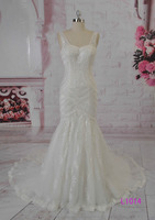 2016 guangzhou sexy low back fishtail mermaid french lace bridal wedding dresses