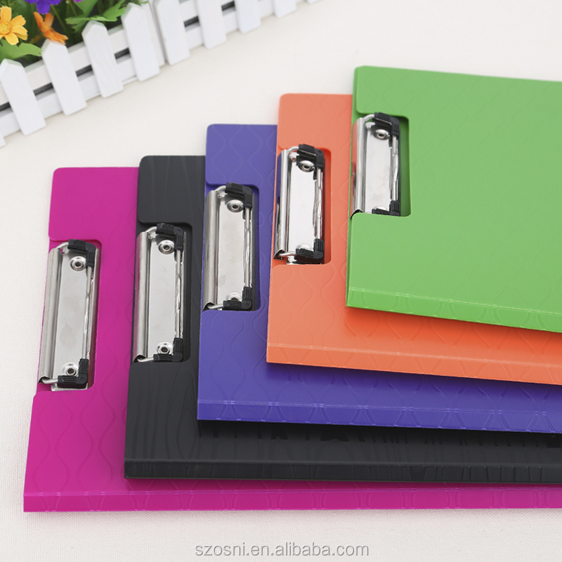 Office Filing Stationery Hard Paper Cover PP Plastic Material Clipboard with Good Quality
