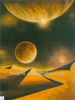 Pure hand-painted high quality oil painting beautiful future space outer space home decorative painting
