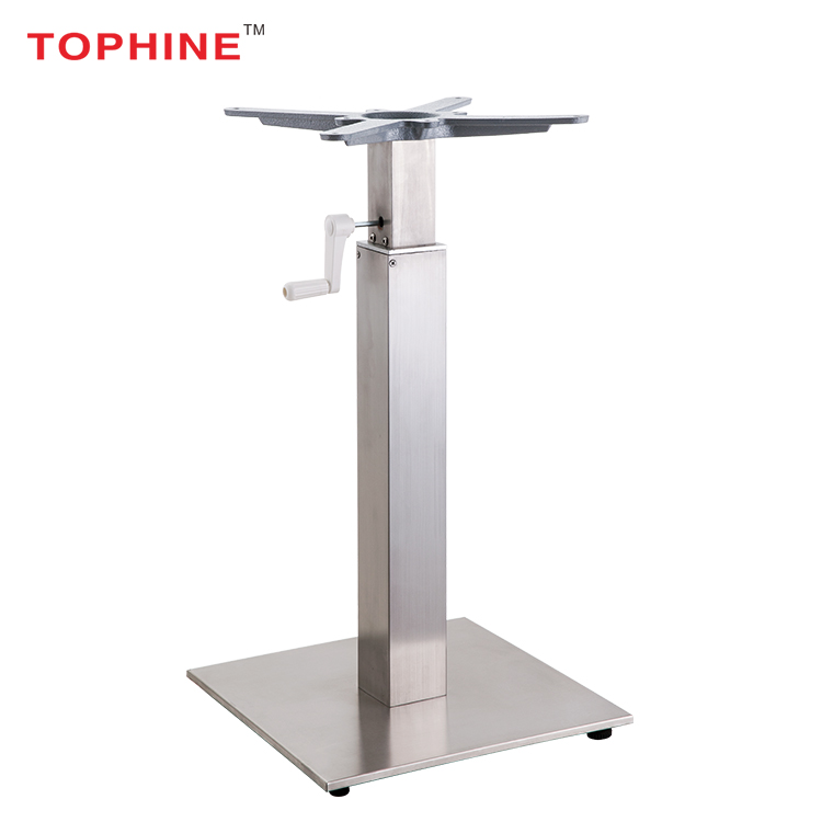 Contemporary Stainless Steel Hand Crank Adjustable Table Base