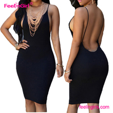 Free Shipping Black Backless Ladies One Piece Bodycon Sexy Club Dress