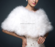 2017 New Style Fashion Real white color wedding ostrich feather fur Shawl