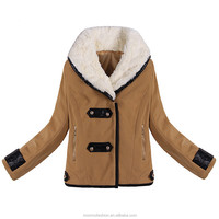 2016 Women Wool Jacket Coat Winter Fashion Plus Size Fleece Fur Collar Zipper Up Pockets Slim Parka Outerwear Casaco Femininos