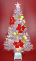 Transparent Leaf Fiber Optic Christmas Trees with Decorations