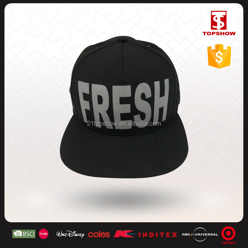 Topshow Custom Black 100% Polyester Adult Plain Snapback Blank 5 Panel Hat With Your Logo