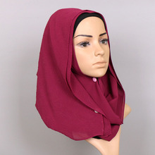 2017 New Fashion Wrinkle Flower Hot Muslim Arab Bubble Chiffon Hijab Scarf