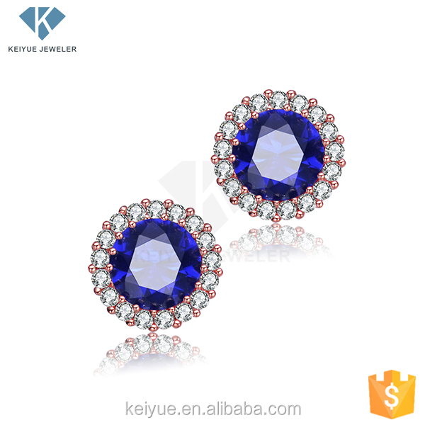 comfort design Lightweight and chic rose gold plated 925 silver cz stud round blue stone crystal earring