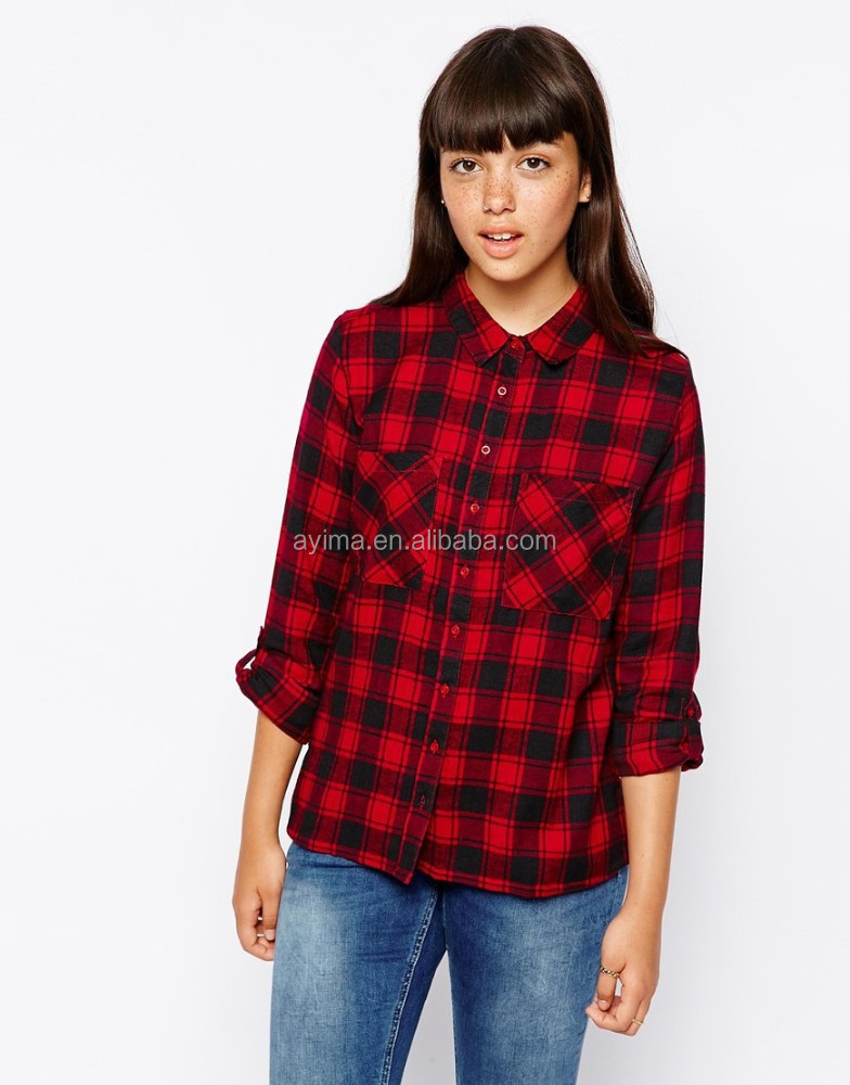 Women fashion plaid shirt new designed red and black plaid for Buy plaid shirts online
