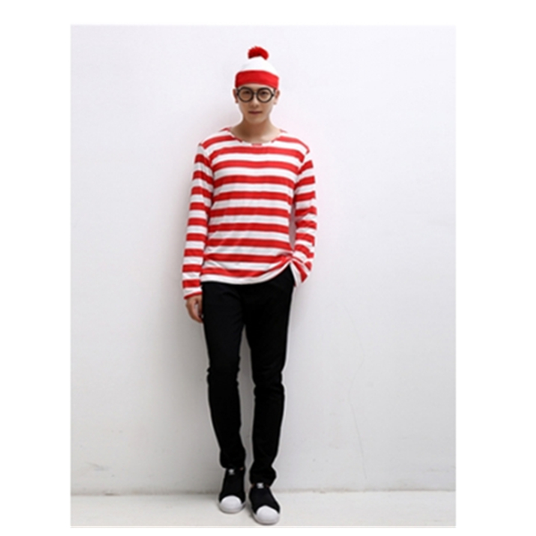 Cosplay Casual uniform Anime Where's Wally Character Christmas Halloween Costumes