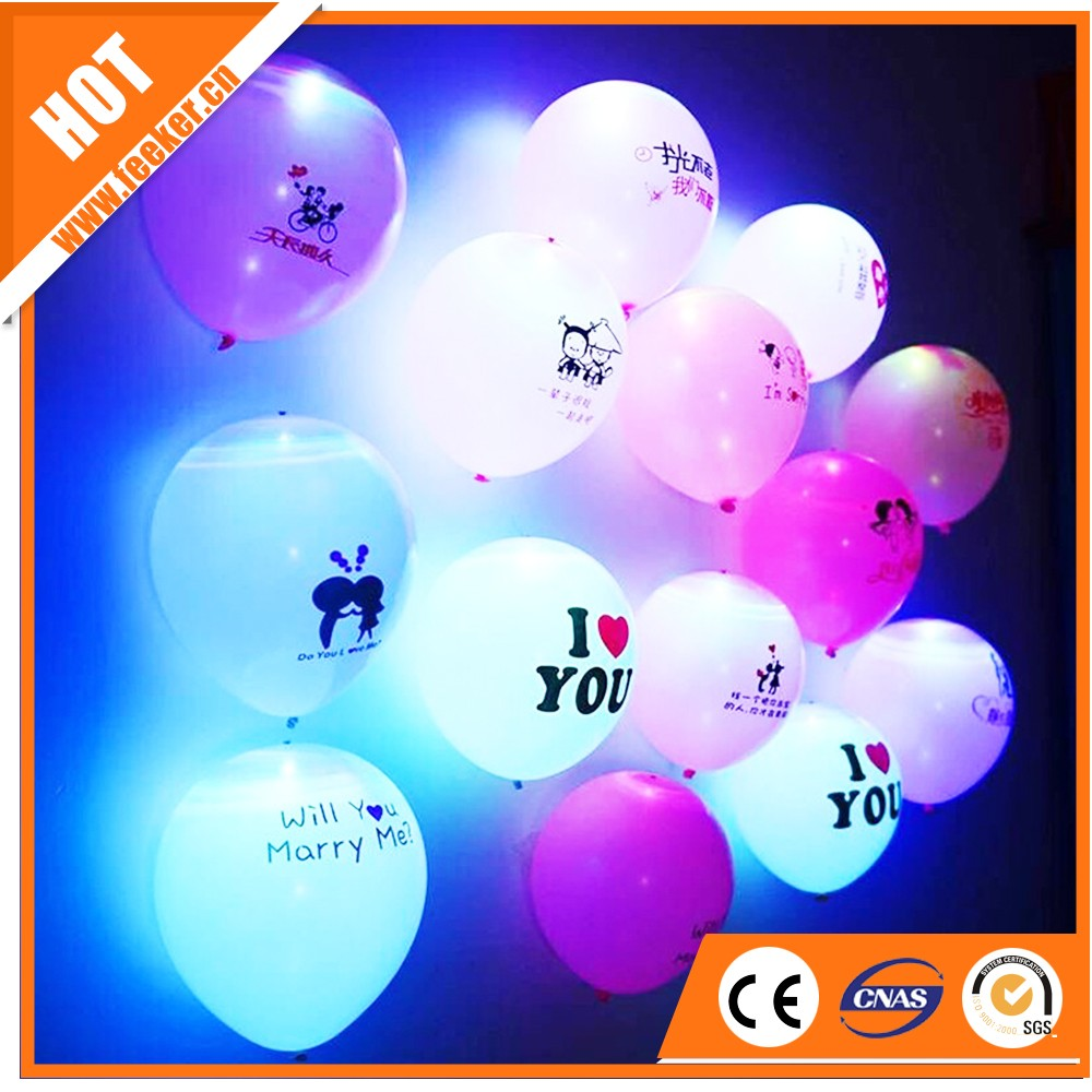 12inch 2.8g latex glow round shaped led balloon