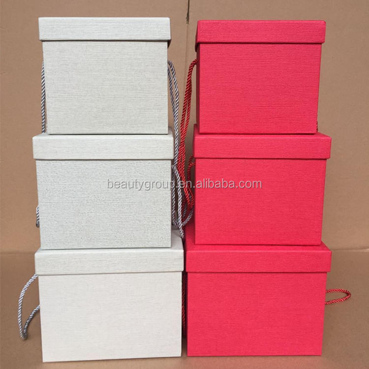 Wholesale different colors square floral boxes, gift packaging flower box