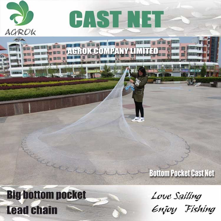 3FT-12FT Bottom Pocket Lead chain Cast Net Fishnet Fishing Net