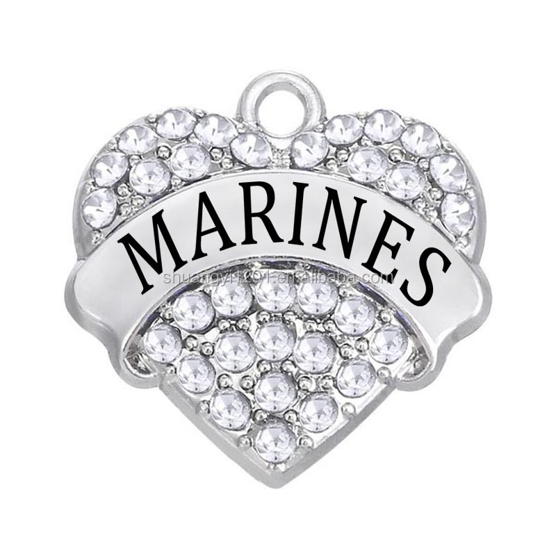 Yiwu Manufacturer Fashion Clear Rhinestone Hearts Marines Pendants & Charms Jewelry
