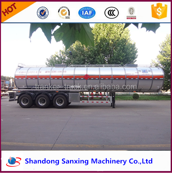 Tri-axle fuel tanker semi trailer, stainless steel tank trailer for corrosive material transportation