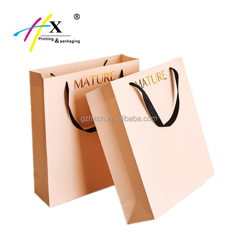 shopping|apparel|gift packaging used custom gold foiled logo mature paper bag wholesale