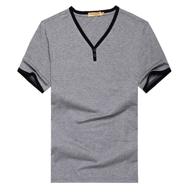 Cheap Price Button Neck V Neck TShirt Promotional Bamboo T Shirt