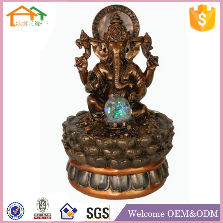 Factory Custom made best home decoration gift polyresin ganesh fountain
