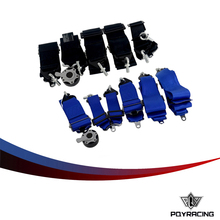 PQY RACING- Racing Seat Belt RACING HARNESS(BLACK,BLUE) FIA 2020 Homologation 3 inches 6Point S** Style PQY-SB61