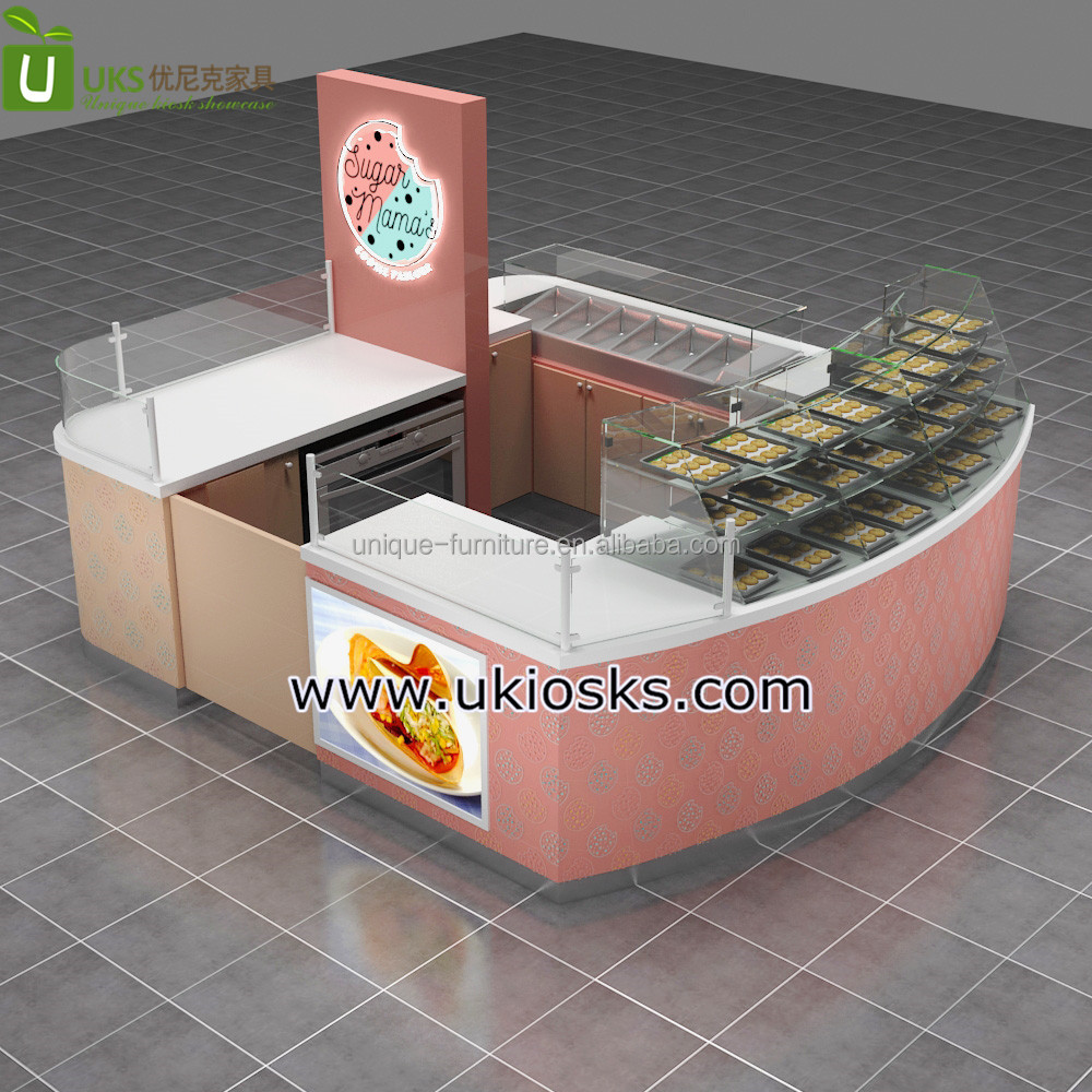 10*10ft wood cookies display stand sales counter for shopping mall kiosk