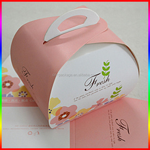 beautiful small cake paper box, cup cake packaging box with handle