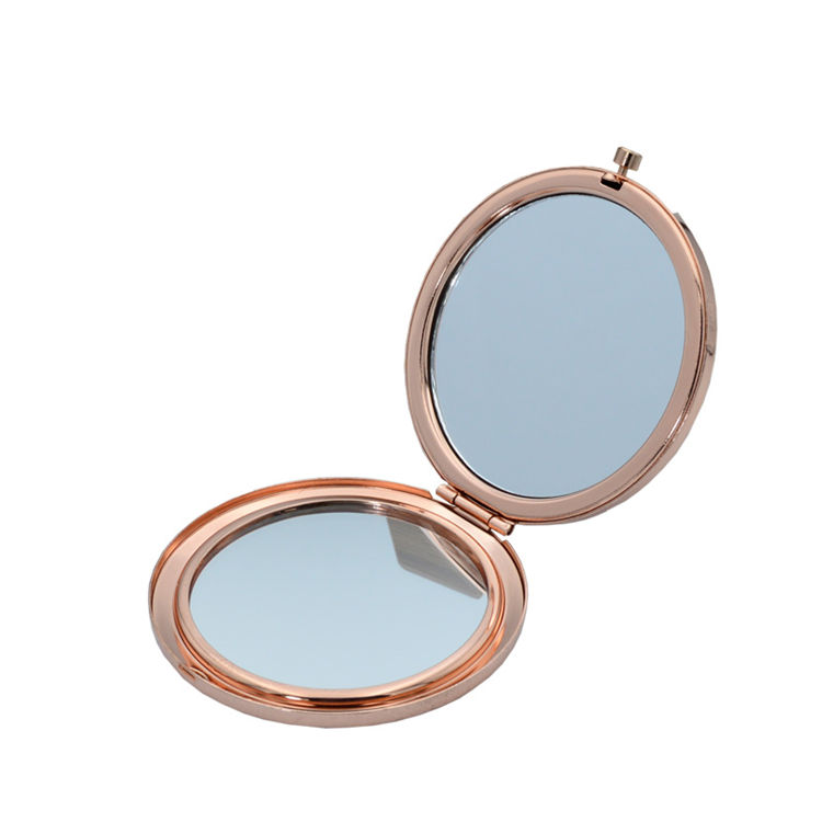 Hot item travel small pocket mirror blank rose gold+sublimation gift metal iron plain pocket cosmetic mirror
