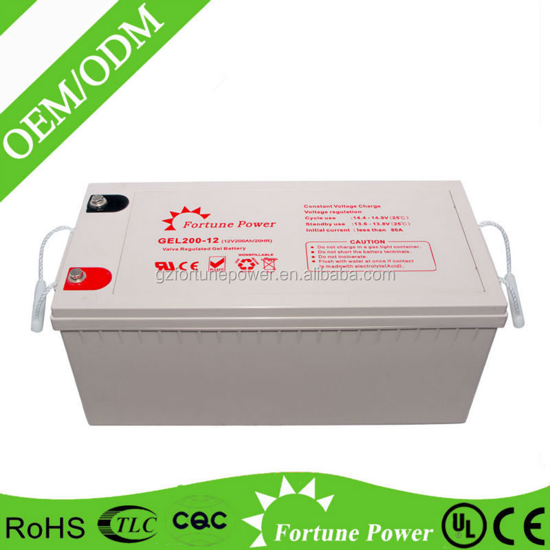 Long life batterie solaire 12v200ah deep cycle gel battery for Photovoltaic systems