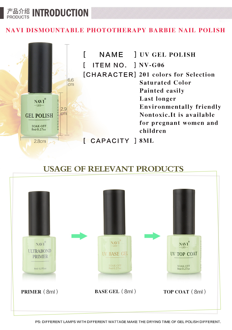 NAVI 8ML Soak OFF UV/LED Nail Gel Polish from China