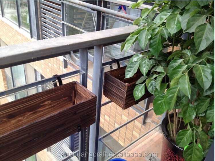 Indoor decorative hang&large wooden flower pot on balcony