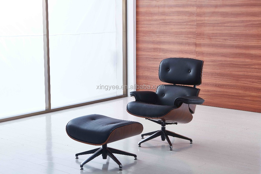 Emes Lounge Chair Ottoman Replica Cowhide Leather Charles Lounge Chair with Footrest