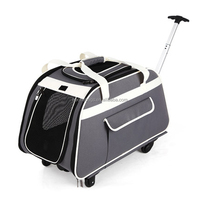 Customized Gray Foldable Travel Trolley Pet Carrier