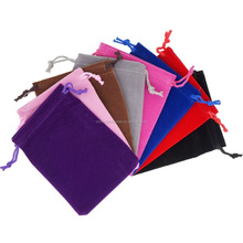 Mix Color Soft Velvet Pouches w Drawstrings for Jewelry Gift Packaging, 9x12cm