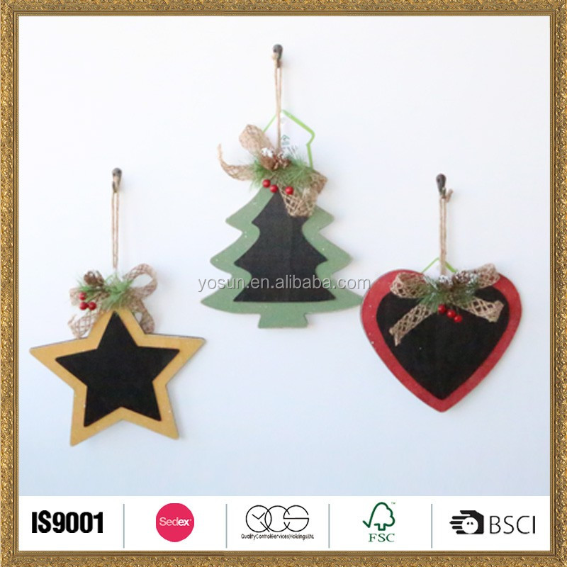 wooden home christmas star and tree hanging decoration