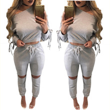 Women's <strong>sports</strong> sets slim casual drop shoulder long sleeve hollow out pant tracksuits