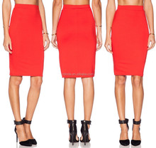 women lady midi knit blank pencil skirt in red color,skirt manufacture