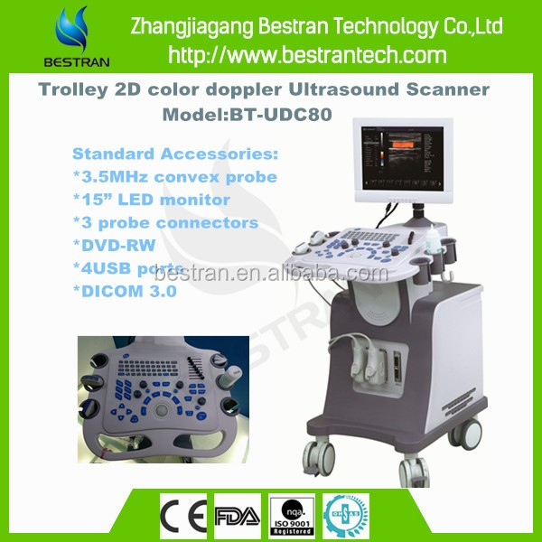 BT-UDC80 15''LED 2D color doppler diagnostic System trolley veterinary ultrasound equipment prices
