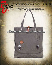 wild antique canvas shopping handbag tote bag Guangzhou manufacture wholesale
