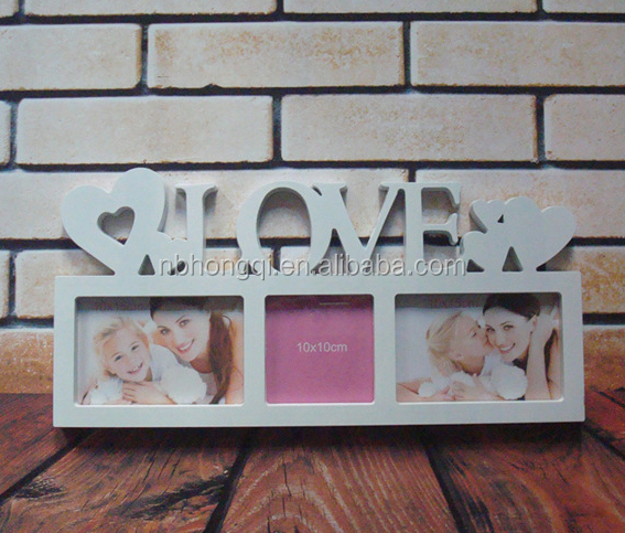 Big 10 photos White Wall Mounted Love Plastic Picture Frame